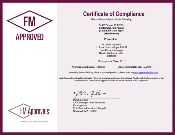 Certificate of Compliance Approval CNPA - Certificate FM Approved Split Casing Pump