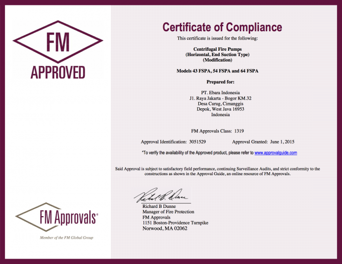 Certificate of Compliance Approval FSPA - Certificate FM Approved End Suction Pump