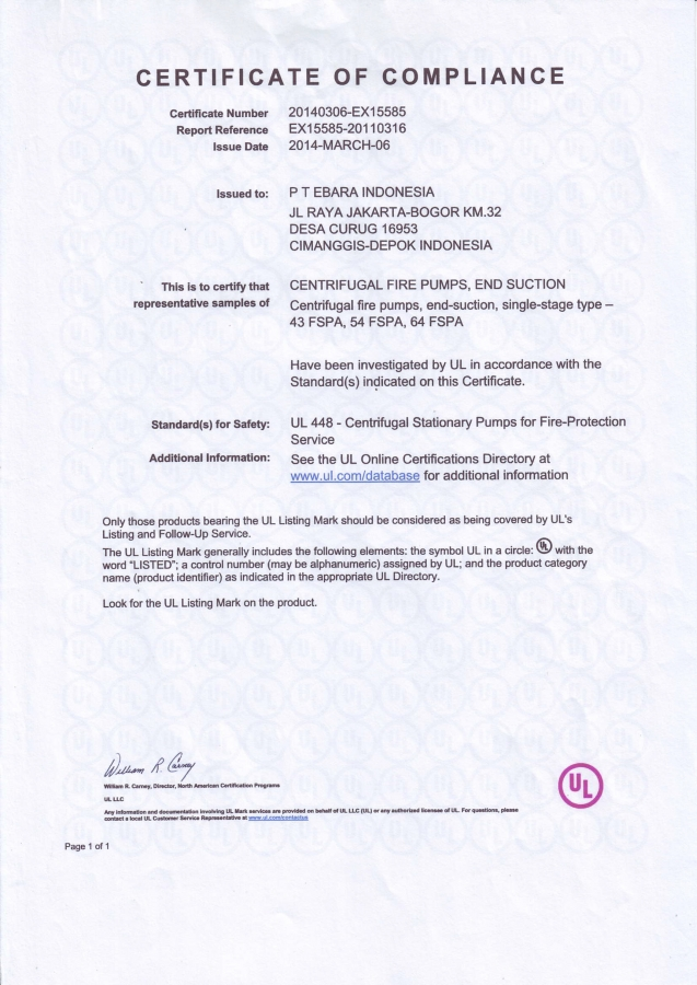 Certificate of Compliance Approval FSPA - Certificate UL Listed End Suction Pump