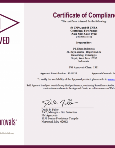 Certificate of Compliance Approval CNPA à Certificate FM Approved Split Casing Pump